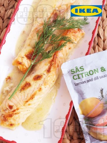 Сьомга на фурна с копър и лимонов сос - снимка на рецептата